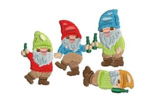Drunk Partying Gnomes Anniversary Embroidery Design By Embroidery Designs