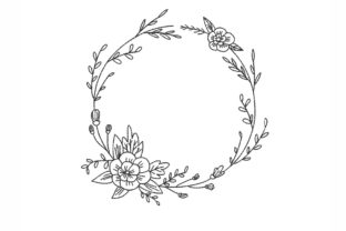 Floral Frame Wreath Floral Wreaths Embroidery Design By NinoEmbroidery