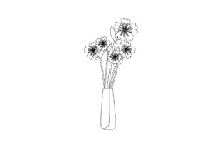 Flowers Decorative in Vase Outline Graphic Illustrations By fadhiesstudio