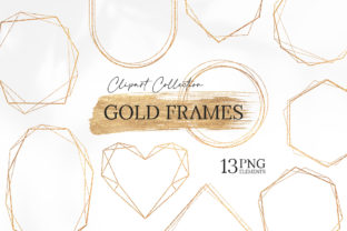 Gold Geometric Polygonal Frames Graphic Objects By SipkaDesigns