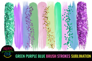 Green Purple Blue Strokes Sublimation Graphic Crafts By Happy Printables Club