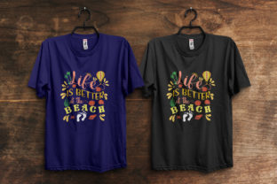 Print on Demand: Life is Better at the Beach T-Shirt Typo Graphic Print Templates By ivect
