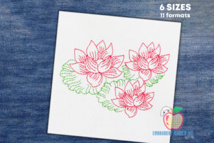Lotus Flower in Pond Line Art Single Flowers & Plants Embroidery Design By embroiderydesigns101