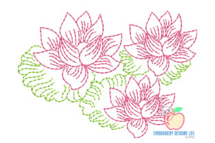 Lotus Flower in Pond Line Art Single Flowers & Plants Embroidery Design By embroiderydesigns101 2
