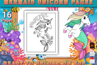 Print on Demand: Mermaid Unicorn Coloring Pages Graphic KDP Interiors By Simran Store