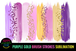 Purple Gold Brush Strokes Sublimation Graphic Crafts By Happy Printables Club