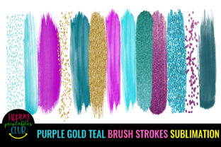Purple Gold Teal Brush Strokes Sublimati Graphic Crafts By Happy Printables Club 1