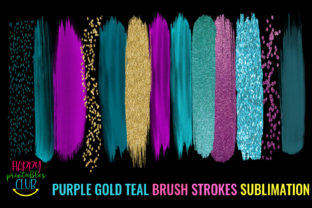Purple Gold Teal Brush Strokes Sublimati Graphic Crafts By Happy Printables Club 2
