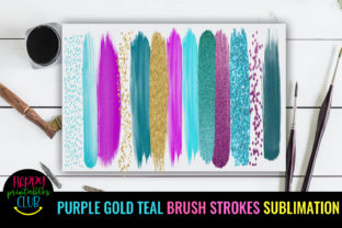 Purple Gold Teal Brush Strokes Sublimati Graphic Crafts By Happy Printables Club 3