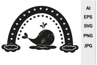 Print on Demand: Rainbow with Ornament and Whale SVG Graphic Crafts By lesinka