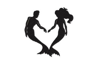 Silhouettes of a Marmaid and a Merman Fairy Tales Embroidery Design By Embroidery Designs