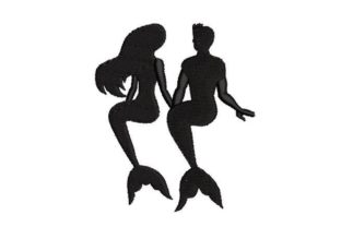 Silhouettes of a Mermaid and a Merman Fairy Tales Embroidery Design By Embroidery Designs