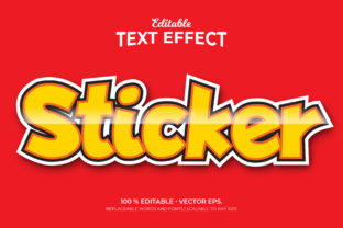 Print on Demand: Sticker 3d Style Editable Text Effects Graphic Graphic Templates By Grapeer