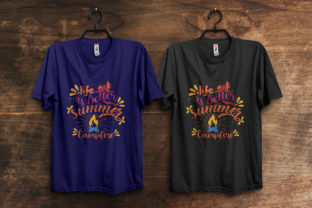 Print on Demand: Summer Camp Fire T-Shirt Design Template Graphic Print Templates By ivect