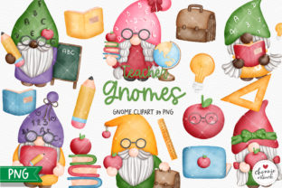 Print on Demand: Teacher Gnome Clipart, Gnomes Teacher Graphic Illustrations By Chonnieartwork 1