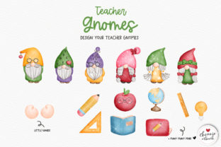 Print on Demand: Teacher Gnome Clipart, Gnomes Teacher Graphic Illustrations By Chonnieartwork 3