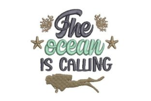 The Ocean is Calling Beach & Nautical Embroidery Design By Embroidery Designs