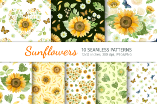 Print on Demand: Watercolor Sunflower Seamless Patterns Graphic Patterns By ValinMalin