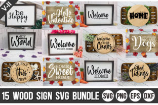 Print on Demand: Wood Sign Bundle Graphic Crafts By Designdealy