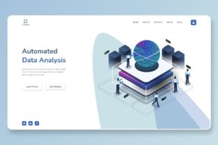 Print on Demand: Automated Data Analysis Header Part Graphic Landing Page Templates By themesfusion