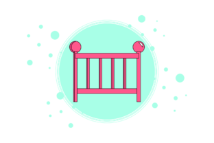 Baby Sleeping Basket Circle Bubble Graphic Icons By icrownstudio