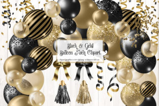 Print on Demand: Black and Gold Balloon Arch Clipart Graphic Illustrations By Digital Curio 1
