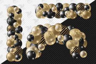 Print on Demand: Black and Gold Balloon Arch Clipart Graphic Illustrations By Digital Curio 2