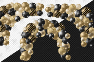 Print on Demand: Black and Gold Balloon Arch Clipart Graphic Illustrations By Digital Curio 3