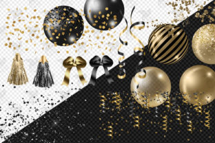 Print on Demand: Black and Gold Balloon Arch Clipart Graphic Illustrations By Digital Curio 4