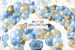 Print on Demand: Blue and Gold Balloon Arch Clipart Graphic Illustrations By Digital Curio