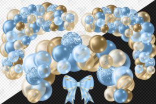 Print on Demand: Blue and Gold Balloon Arch Clipart Graphic Illustrations By Digital Curio 3