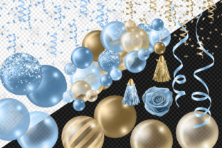 Print on Demand: Blue and Gold Balloon Arch Clipart Graphic Illustrations By Digital Curio 4