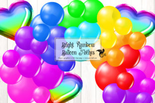 Print on Demand: Bright Rainbow Balloon Arch Clipart Graphic Illustrations By Digital Curio 1