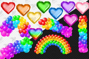 Print on Demand: Bright Rainbow Balloon Arch Clipart Graphic Illustrations By Digital Curio 2