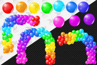 Print on Demand: Bright Rainbow Balloon Arch Clipart Graphic Illustrations By Digital Curio 3
