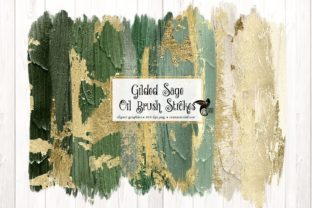 Print on Demand: Gilded Sage Oil Brush Strokes Clipart Graphic Illustrations By Digital Curio