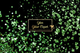 Print on Demand: Green Glitter Clip Art Overlays Graphic Illustrations By Digital Curio
