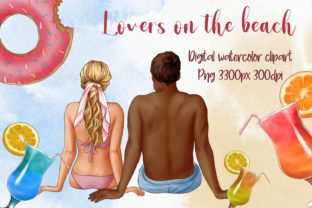 Lovers on the Beach, Couple in Love Graphic Illustrations By Arte de Catrin