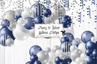 Print on Demand: Navy and Silver Balloon Arch Clipart Graphic Illustrations By Digital Curio