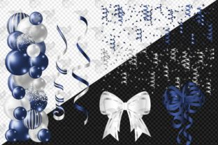 Print on Demand: Navy and Silver Balloon Arch Clipart Graphic Illustrations By Digital Curio 2