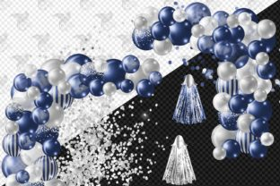 Print on Demand: Navy and Silver Balloon Arch Clipart Graphic Illustrations By Digital Curio 3