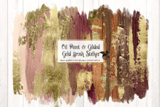 Print on Demand: Oil Paint and Gilded Gold Brush Strokes Graphic Illustrations By Digital Curio