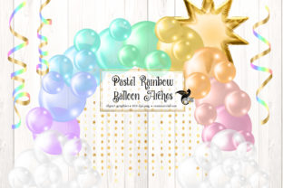 Print on Demand: Pastel Rainbow Balloon Arch Clipart Graphic Illustrations By Digital Curio