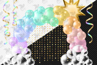 Print on Demand: Pastel Rainbow Balloon Arch Clipart Graphic Illustrations By Digital Curio 2