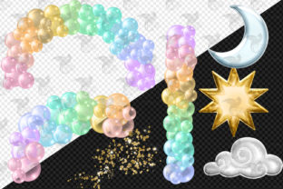Print on Demand: Pastel Rainbow Balloon Arch Clipart Graphic Illustrations By Digital Curio 3