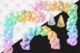 Print on Demand: Pastel Rainbow Balloon Arch Clipart Graphic Illustrations By Digital Curio 4