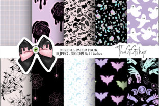 Print on Demand: Pink Halloween Digital Paper Pack Graphic Illustrations By TheGGShop 1