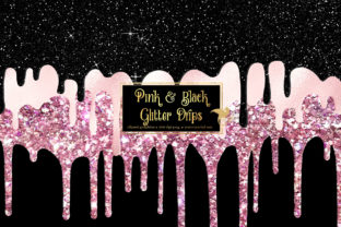 Print on Demand: Pink and Black Glitter Drips Clipart Graphic Illustrations By Digital Curio 1