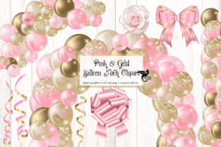 Print on Demand: Pink and Gold Balloon Arch Clipart Graphic Illustrations By Digital Curio