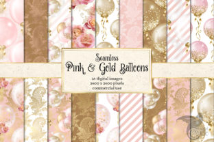 Print on Demand: Pink and Gold Balloons Digital Paper Graphic Patterns By Digital Curio